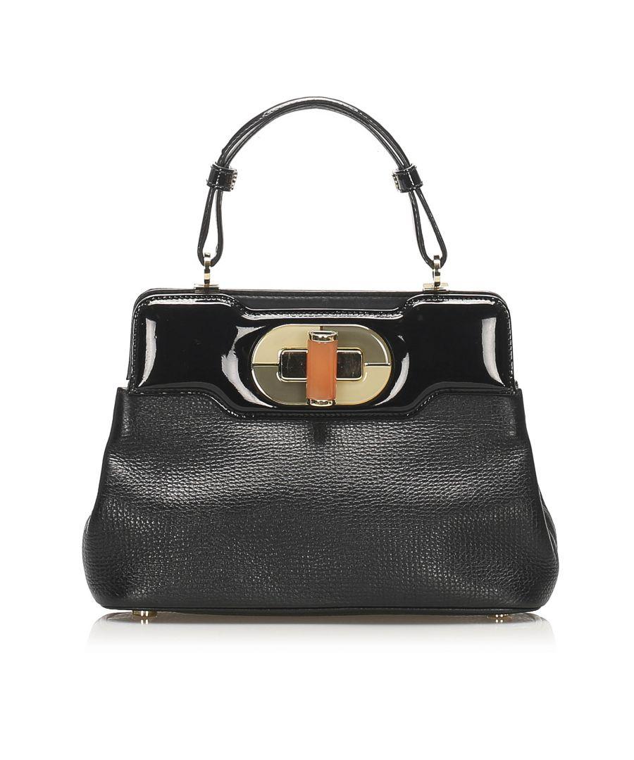 Image for Vintage Bvlgari Isabella Rossellini Leather Handbag Black