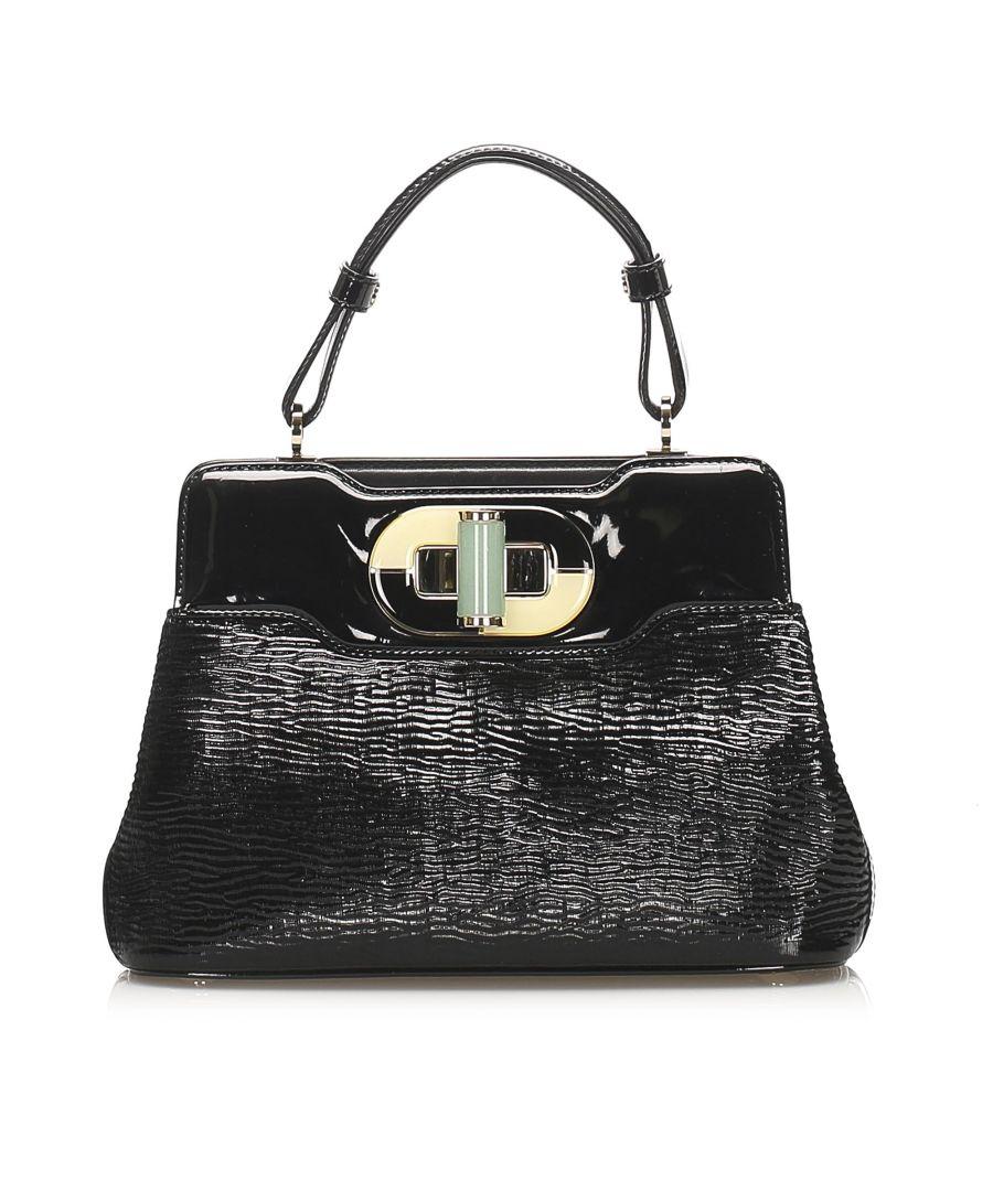 Image for Vintage Bvlgari Isabella Rossellini Patent Leather Handbag Black