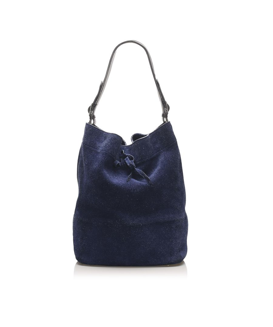 Image for Vintage Celine Seau Drawstring Bucket Bag Blue