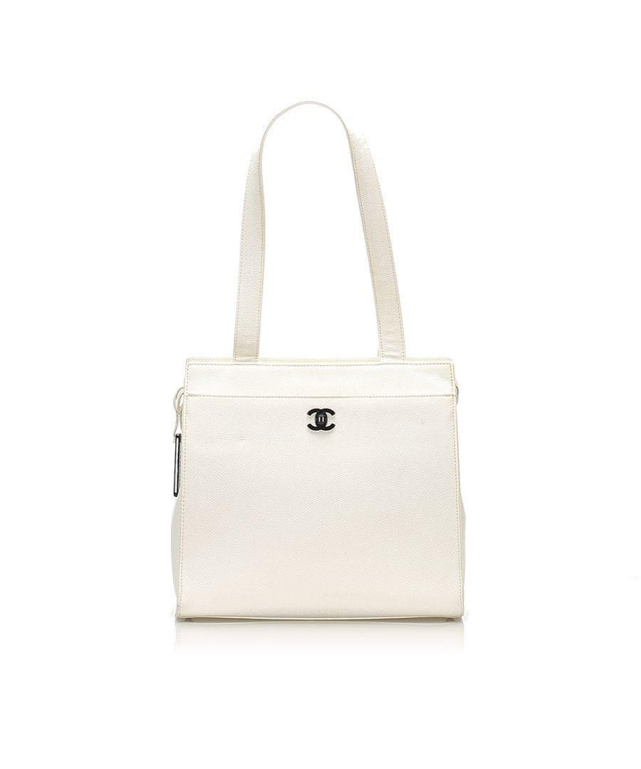 Image for Vintage Chanel CC Caviar Leather Tote Bag White