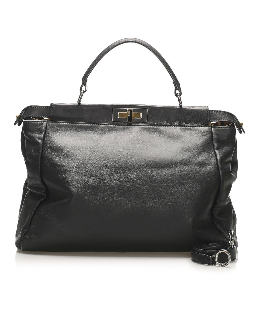 Image for Vintage Fendi Peekaboo Leather Satchel Black