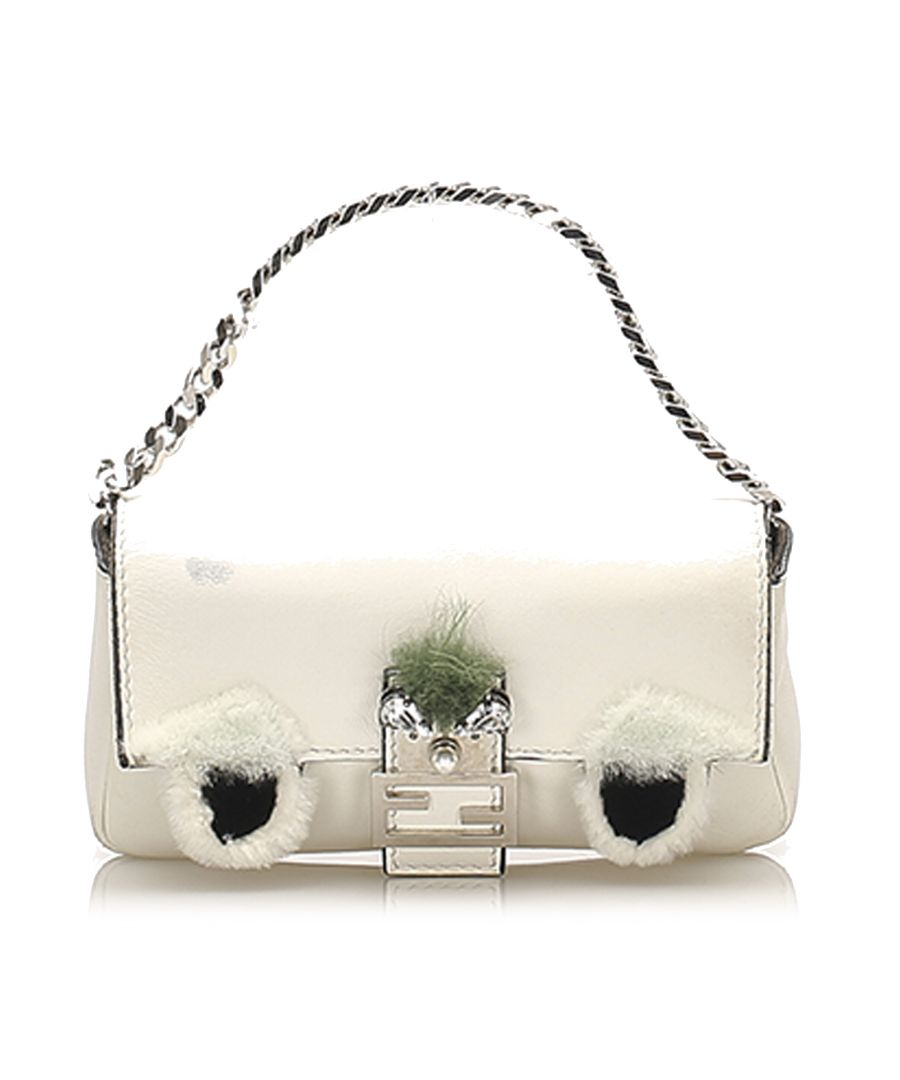 Image for Vintage Fendi Monster Leather Baguette White
