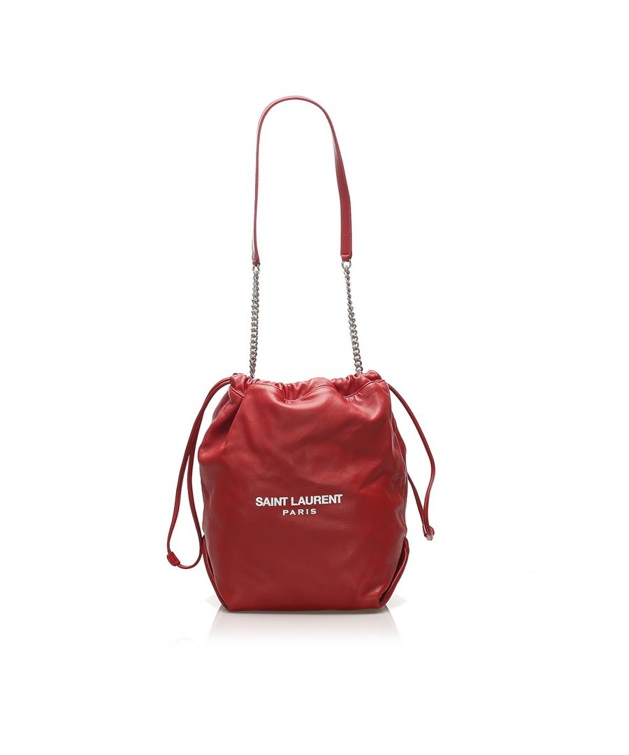 Image for Vintage YSL Teddy Leather Bucket Bag Red