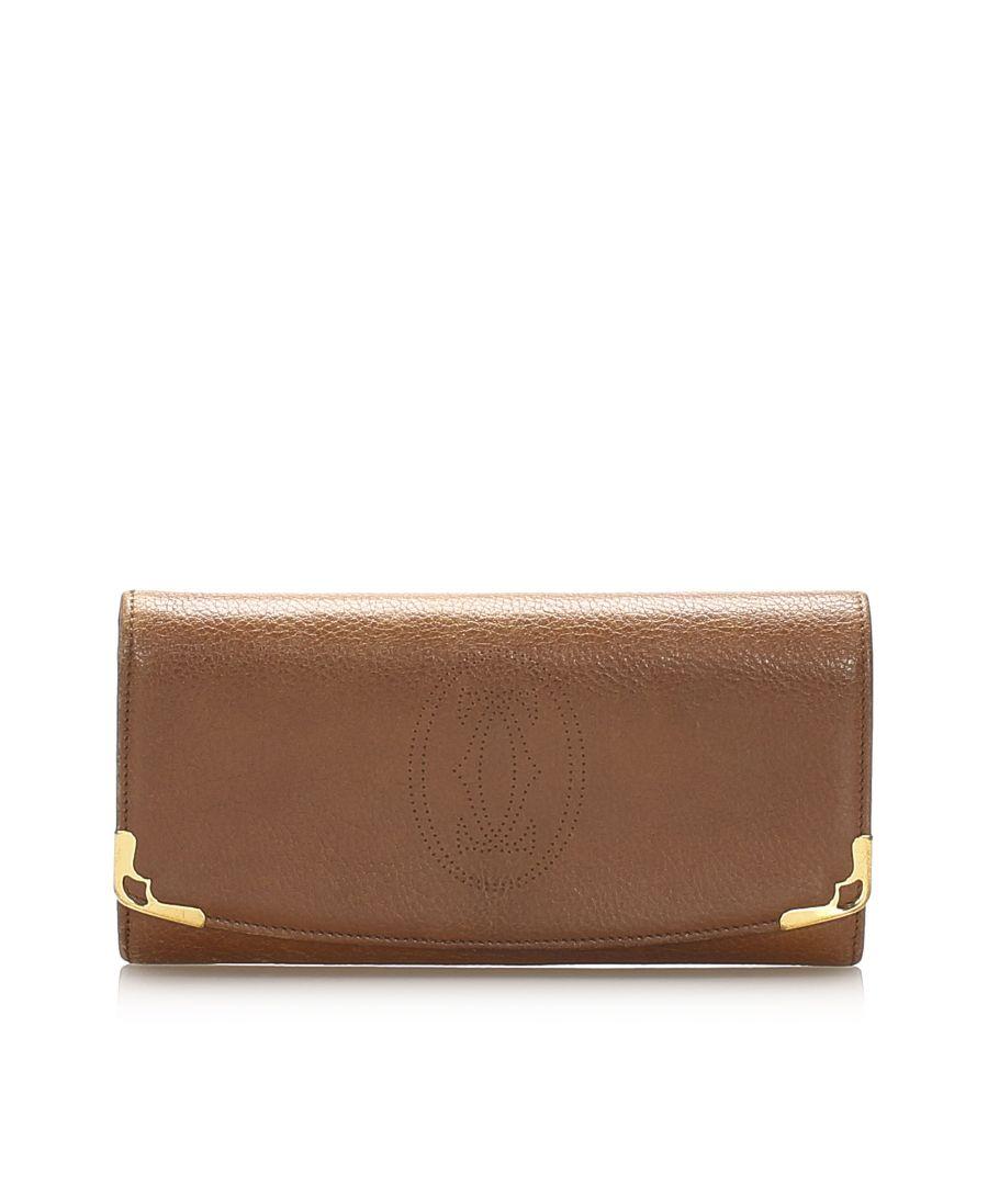 Image for Vintage Cartier Must De Cartier Leather Long Wallet Brown