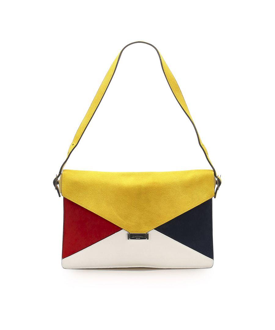 Image for Vintage Celine Diamond Leather Shoulder Bag Multi