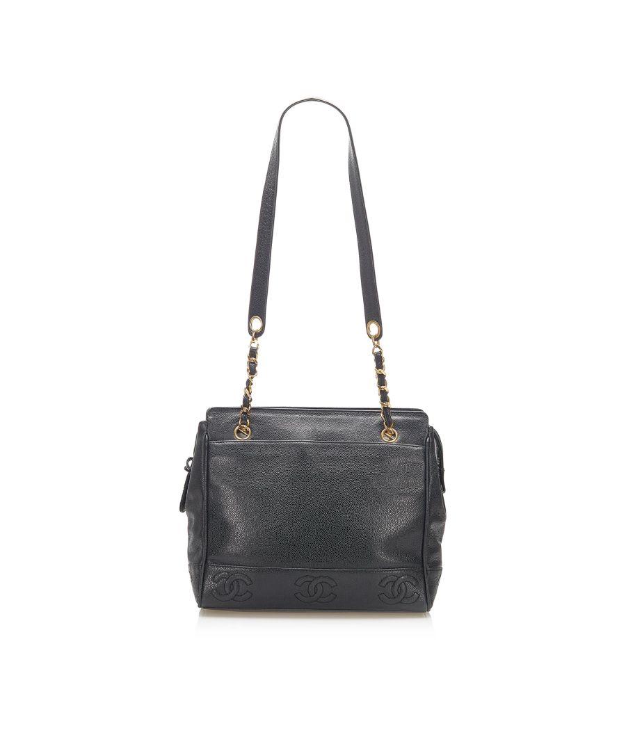Image for Vintage Chanel Triple Coco Caviar Shoulder Bag Black