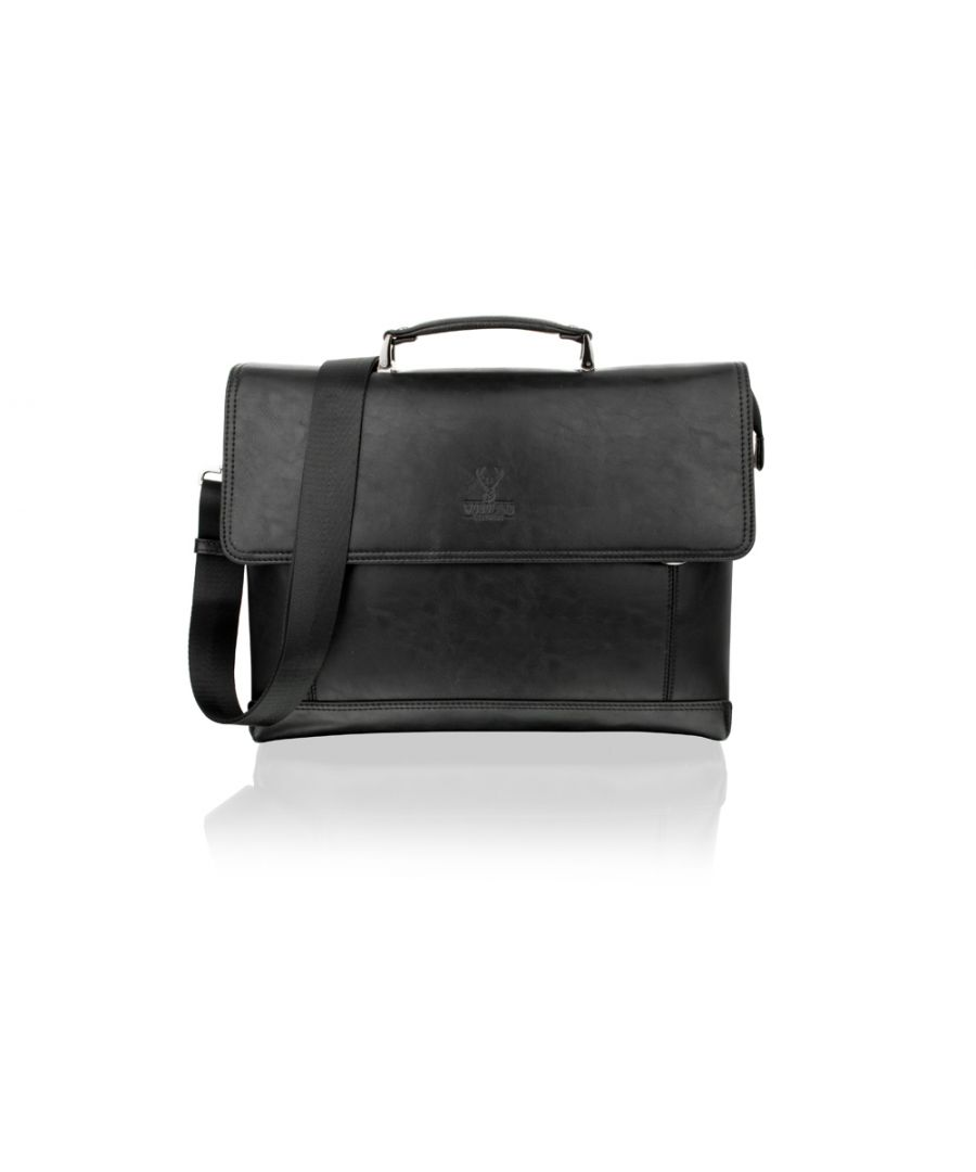 Image for Woodland Leather Classic Black Satchel Briefcase Flap Over, 14.5