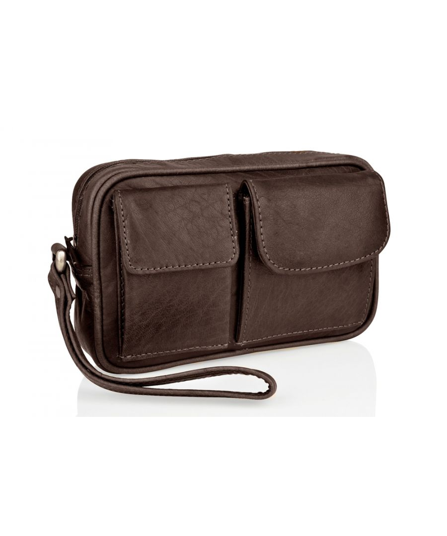 Image for Woodland Leather Wrist Bag, Multi Patch Pocket, Central Zip Pocket