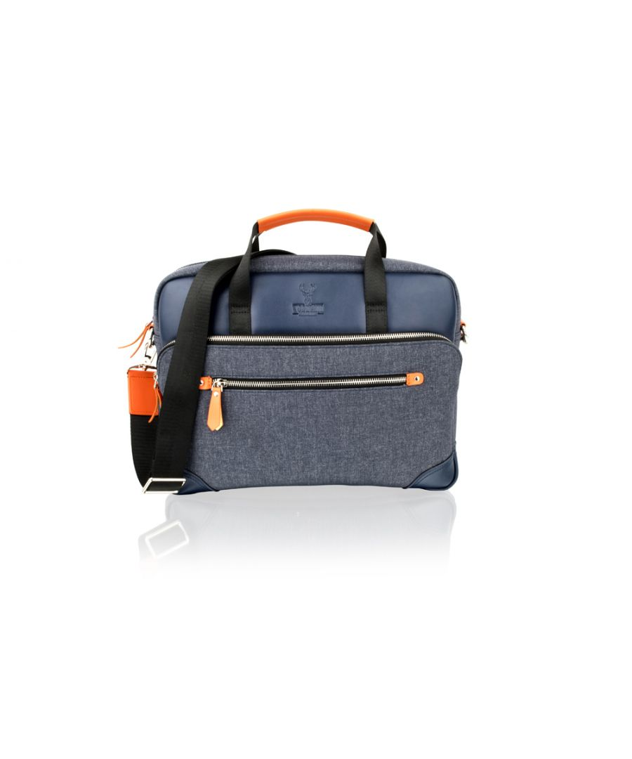 Image for Woodland Leather Navy With Orange Trim Tote Bag 14.5