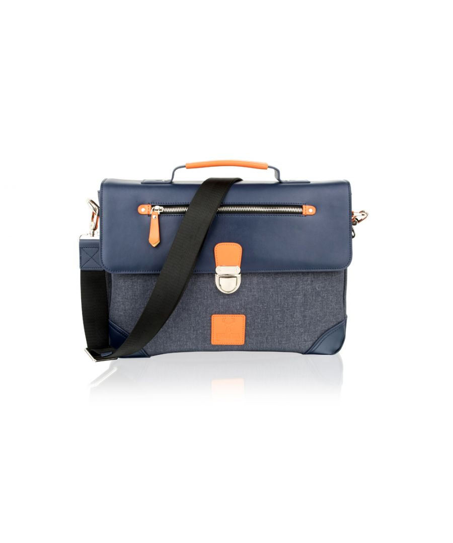 Image for Woodland Leather Navy With Orange Trim Flap Over Satchel Briefcase 14.5