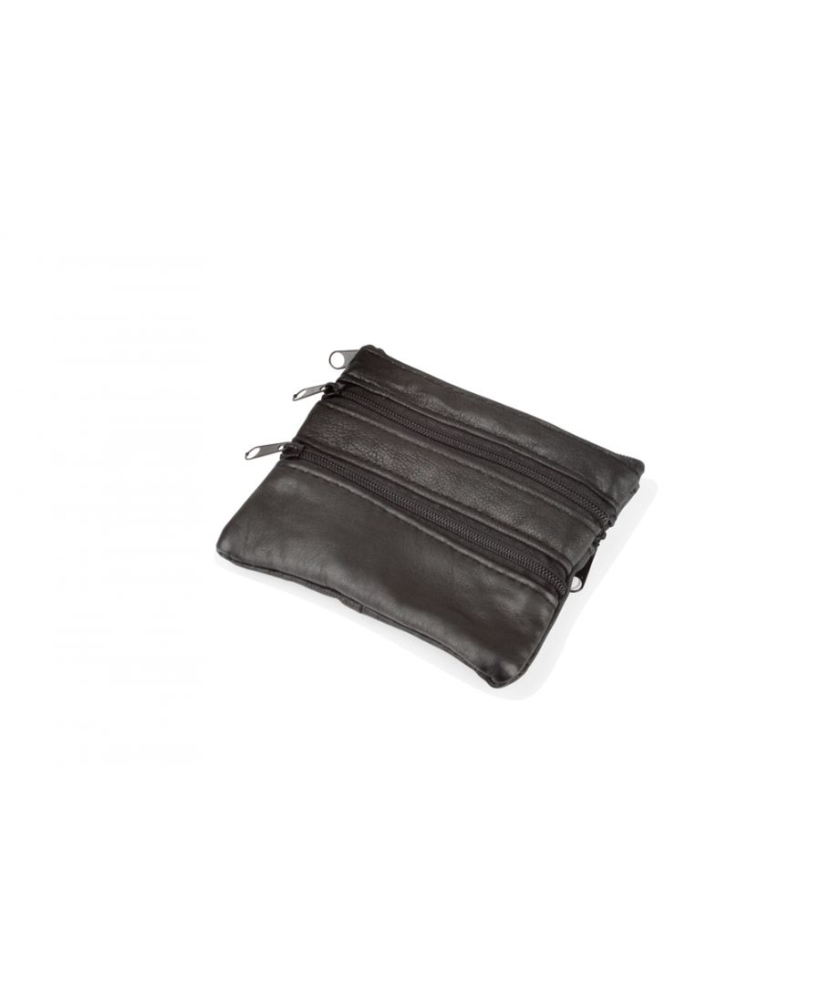 Image for Woodland Leather Black Coin Purse Credit Card Holder