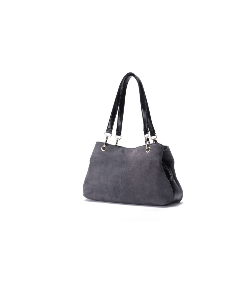 Image for Woodland Leather Grey Suede Twin Handle Central Compartment 12.0