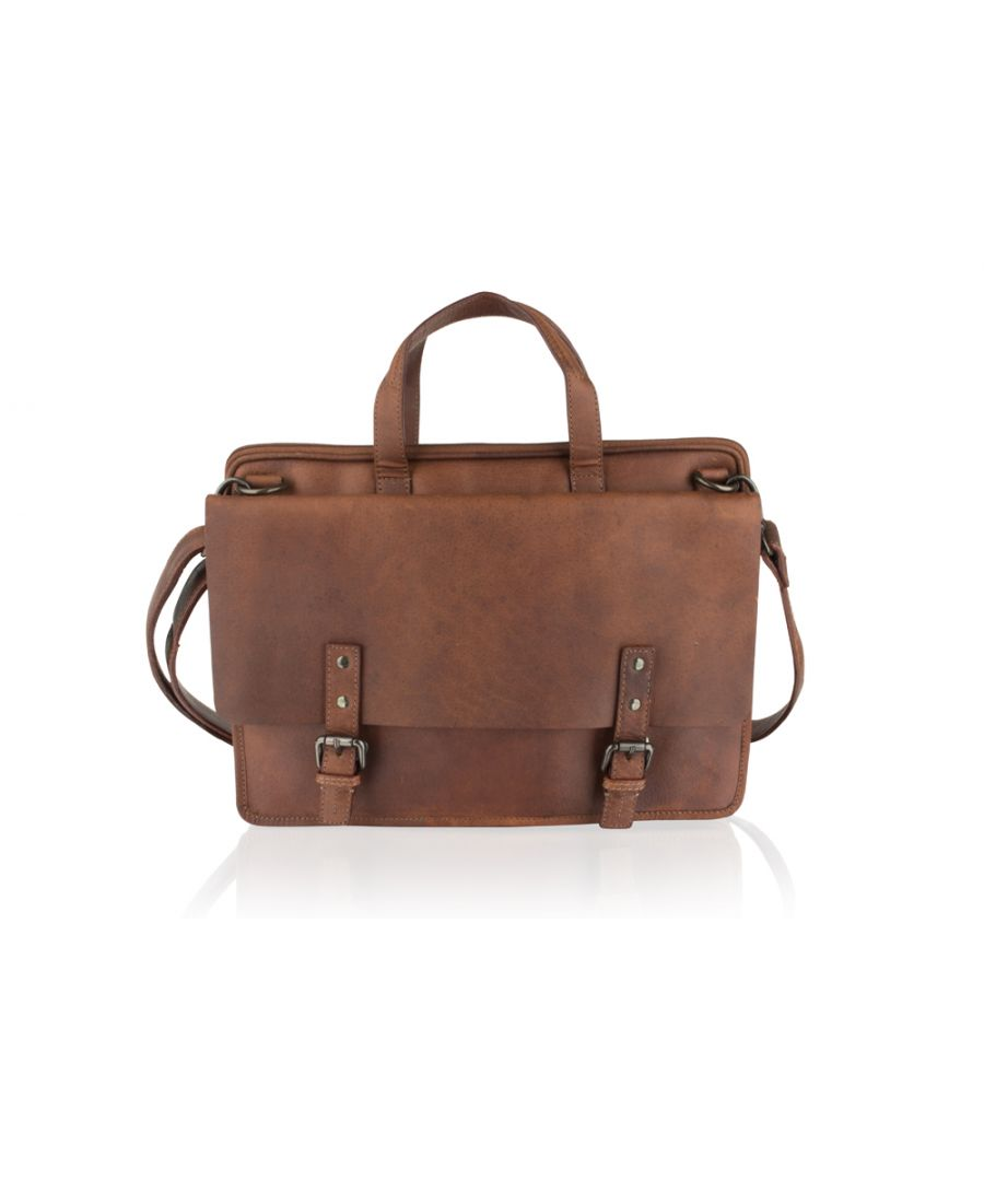 Image for Woodland Leather Tan Laptop Satchel Briefcase 14.5