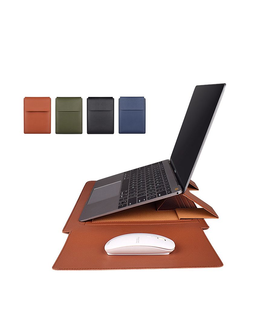 Image for Navy Leather Laptop Case With Mouse Pad 13.3