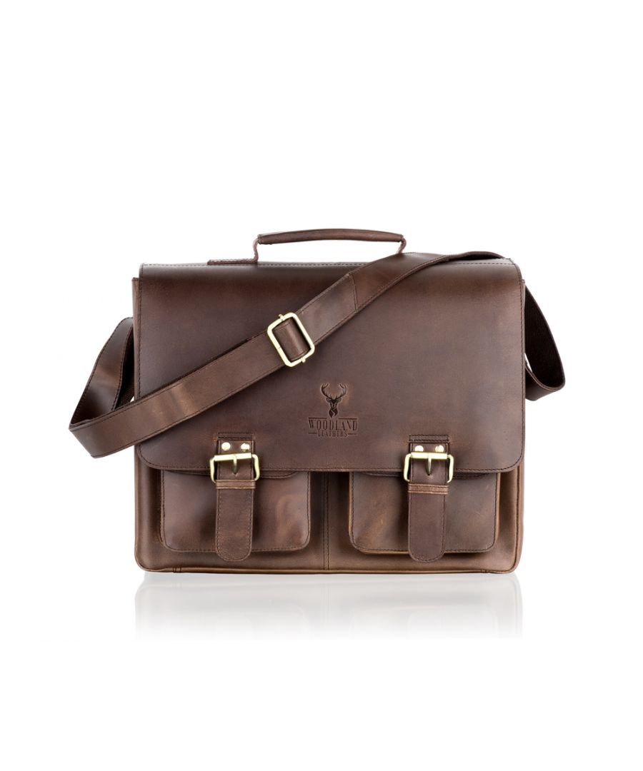Image for Woodland Leather Large Brown Satchel Briefcase Flap Over, 16.0
