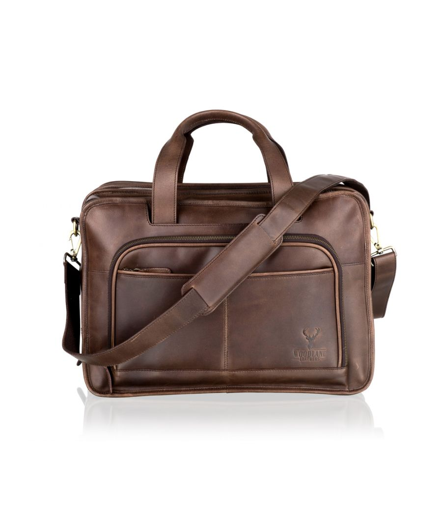Image for Woodland Leather Large Brown Satchel Briefcase, Flap Over 18.5