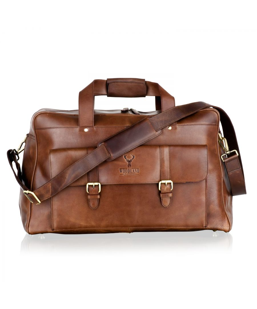 Image for Woodland Leather Brown Large Travel Holdall 21.0