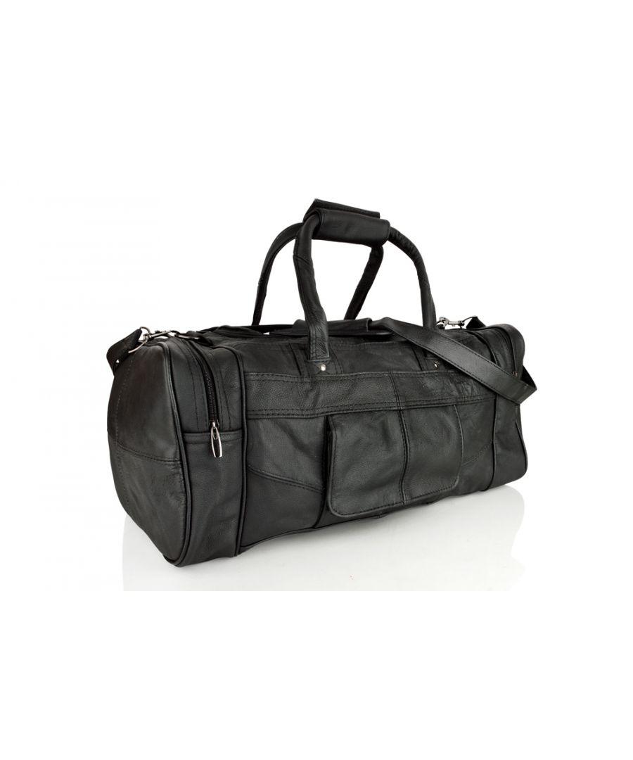 Image for Woodland Leather Black Medium Size Travel Holdall 19.0