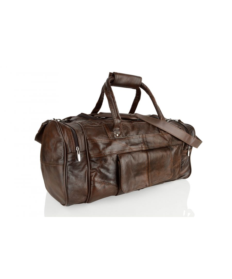 Image for Woodland Leather Brown Medium Size Travel Holdall 19.0
