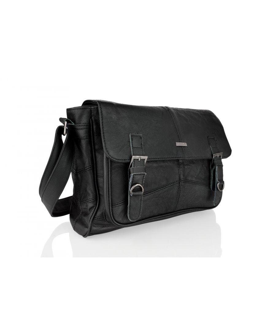 Image for Leather Black Landscape Messenger Bag 15.0