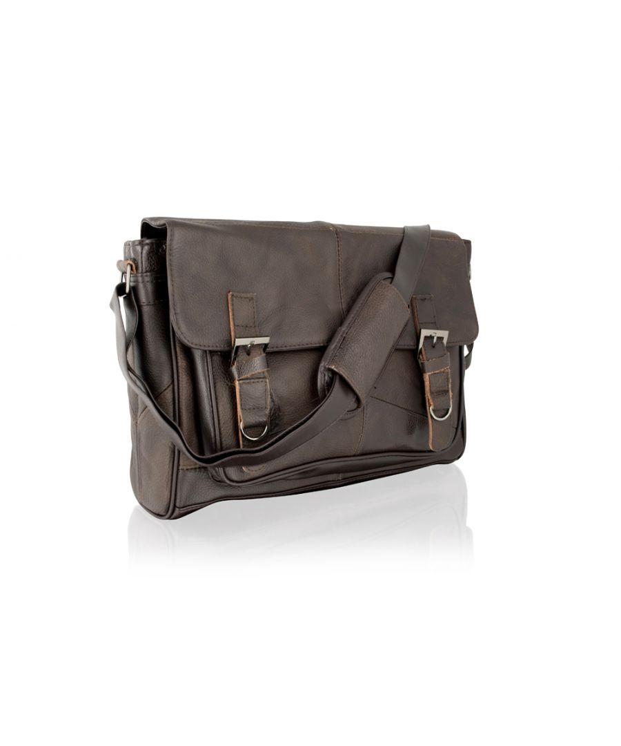Image for Leather Brown Landscape Messenger Bag 15.0