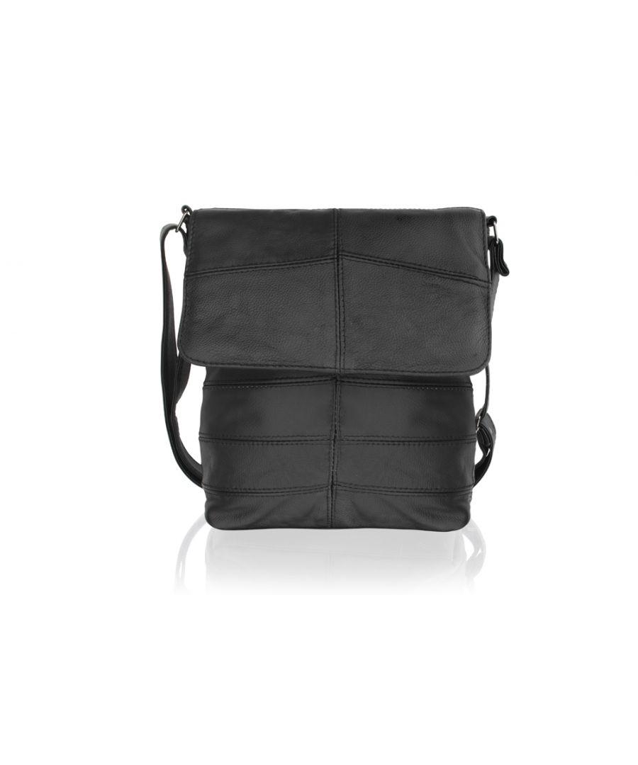 Image for Woodland Leather Black Landscape Messenger Bag 15.0