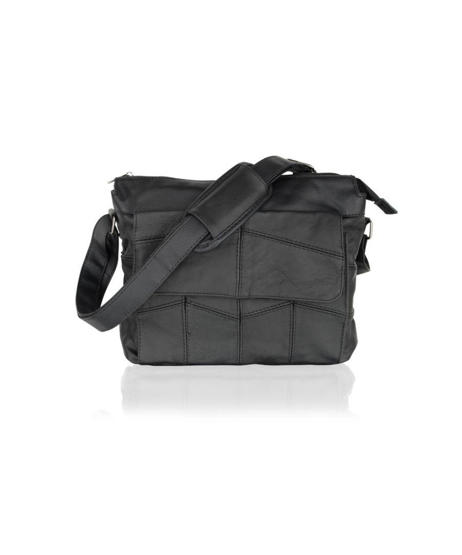 Image for Black Leather Portrait Messenger Bag 10.5