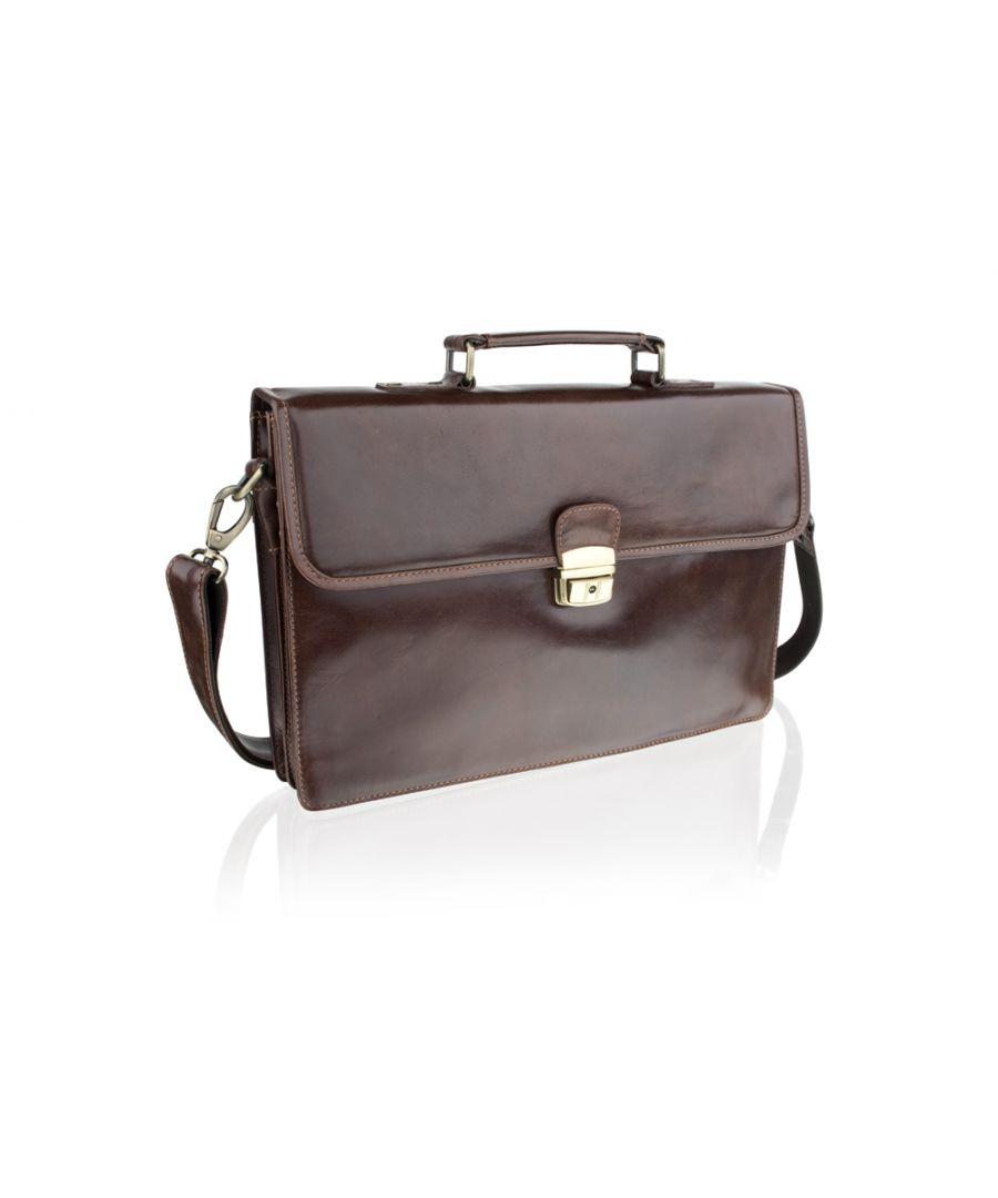 Image for Woodland Leather Sleek Brown Satchel Briefcase 15.0