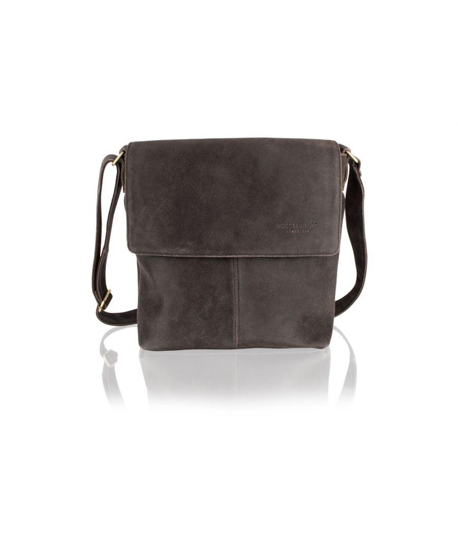 Image for Woodland Leather Crackle Landscape Messenger Bag 14.5