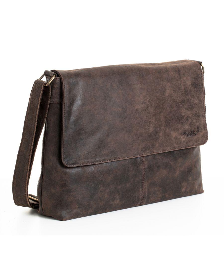 Image for Woodland Leather Crackle Landscape Messenger Bag 18.5