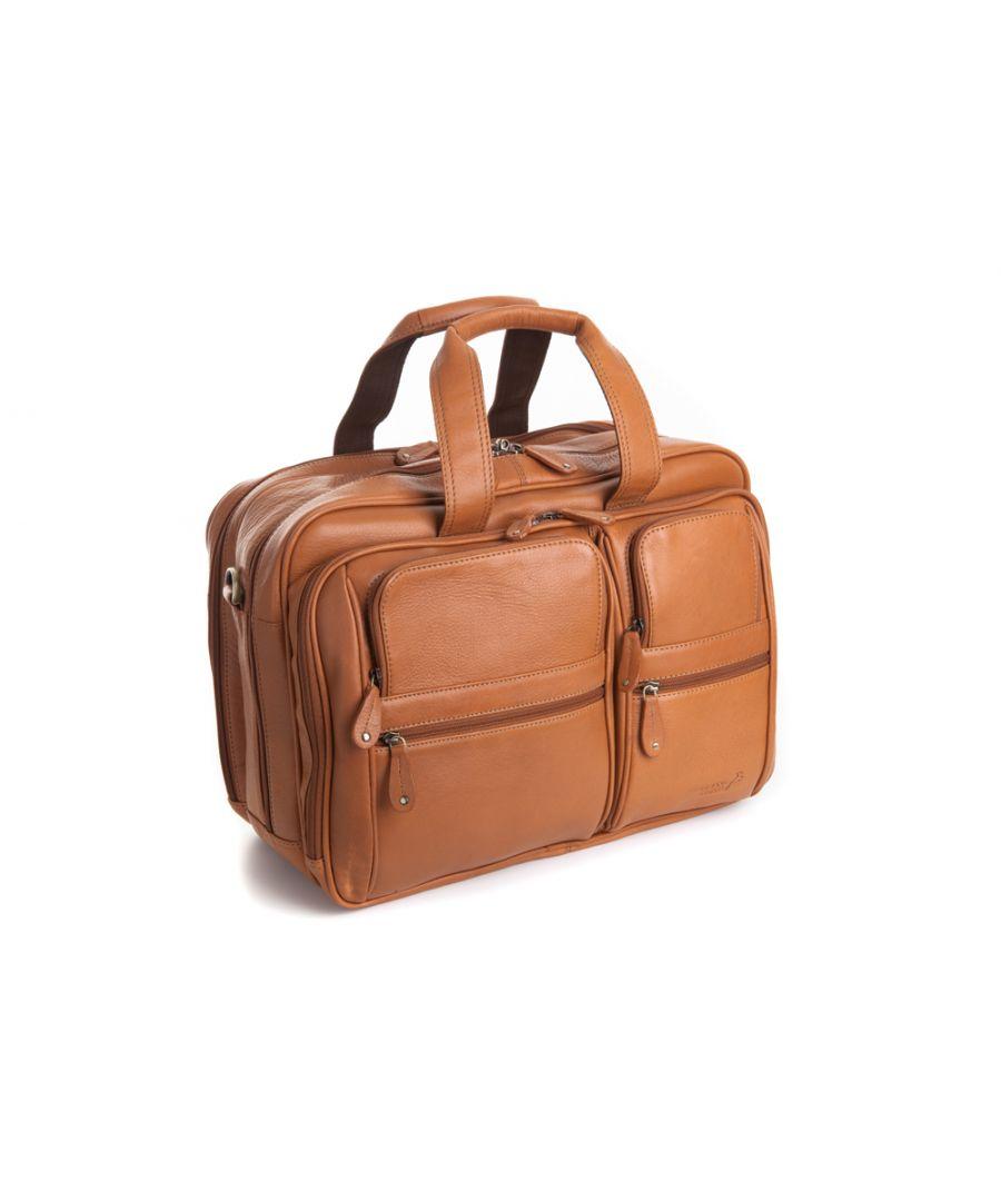 Image for Woodland Leather Tan Landscape Laptop Bag, 16.0