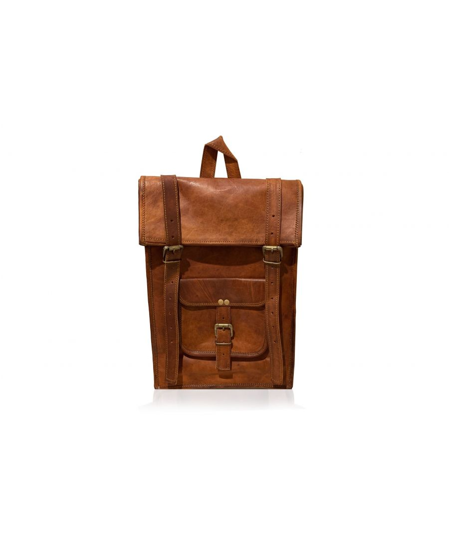 Image for Woodland Leather Tan Vintage Front Pocket Backpack Adjustable Shoulder Strap