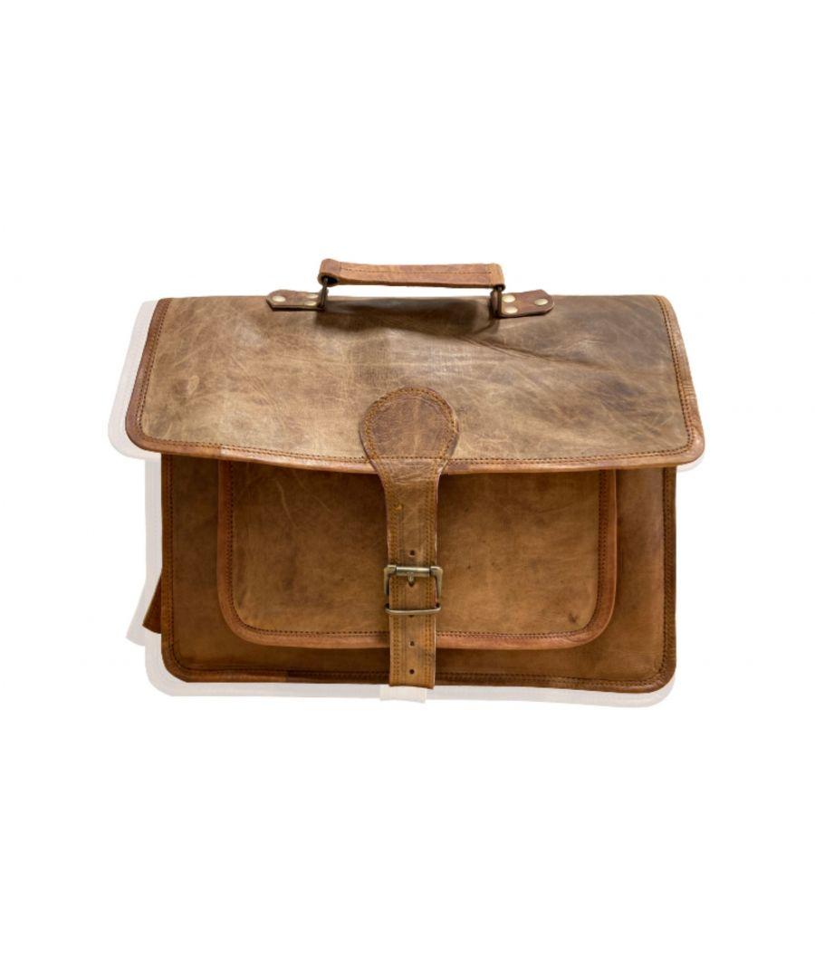 Image for Woodland Leather Tan Vintage Front Pocket Satchel Briefcase with Adjustable Shoulder Strap