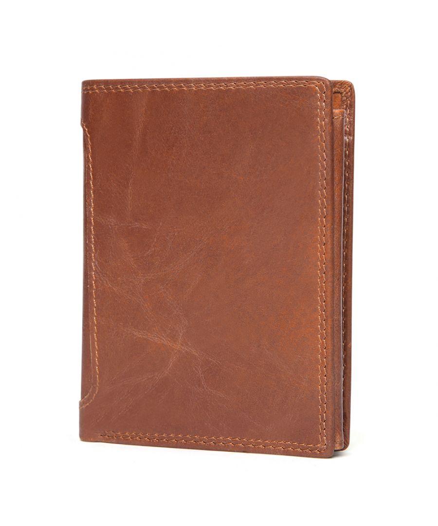 Image for Men's Vintage Genuine Leather Tri-fold Rfid Wallet