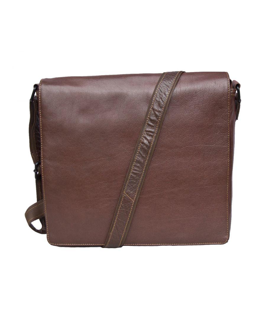 Image for Woodland Leather Tribal Landscape Messenger Bag 13.5
