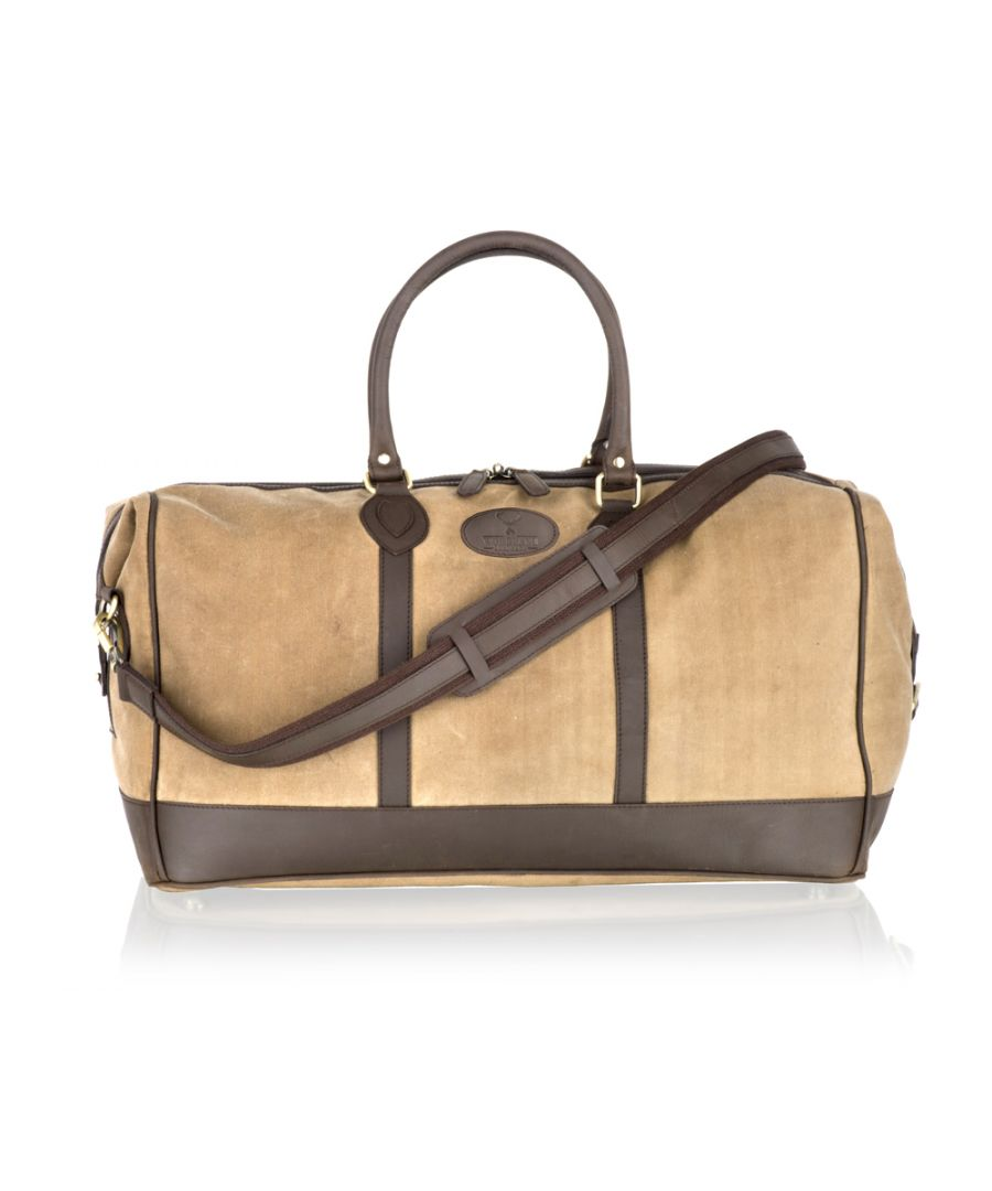 Image for Woodland Leather Beige Canvass And Brown Leather Large Holdall 22.0