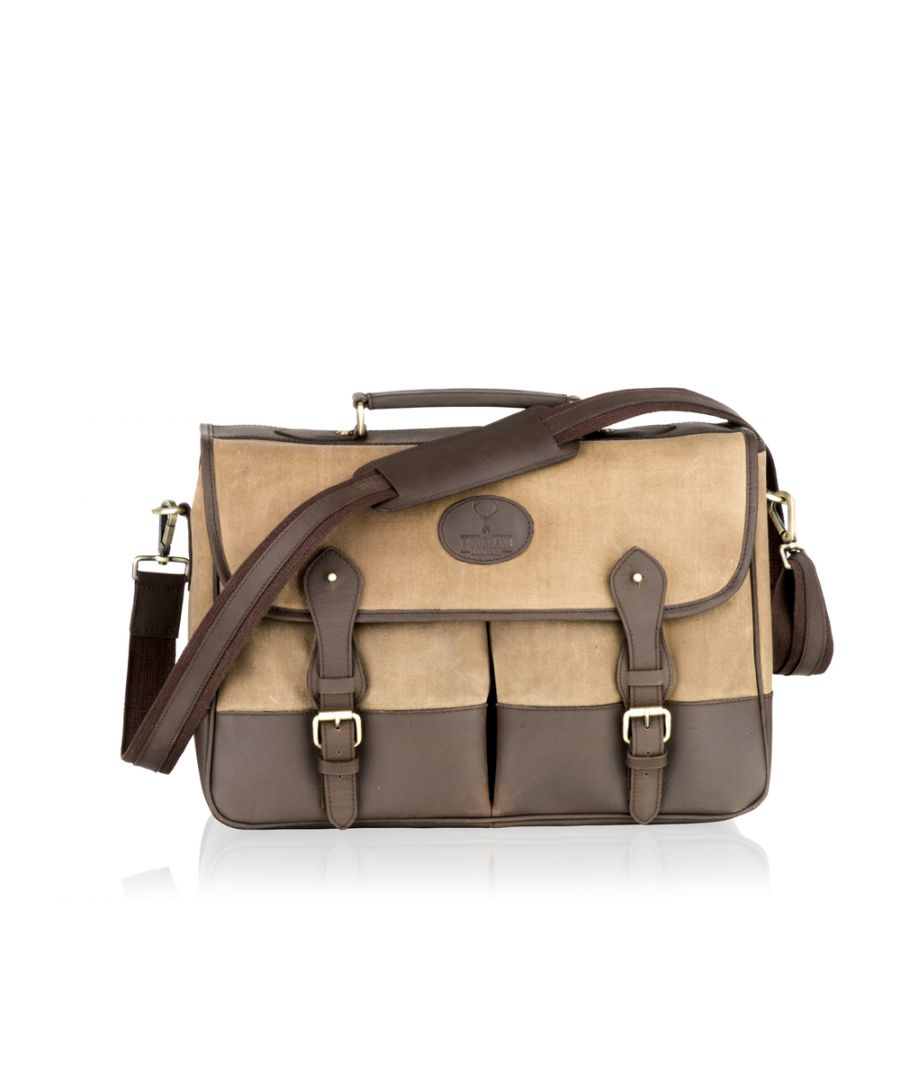 Image for Woodland Leather Beige Canvass and Brown Leather Satchel Briefcase 16.5