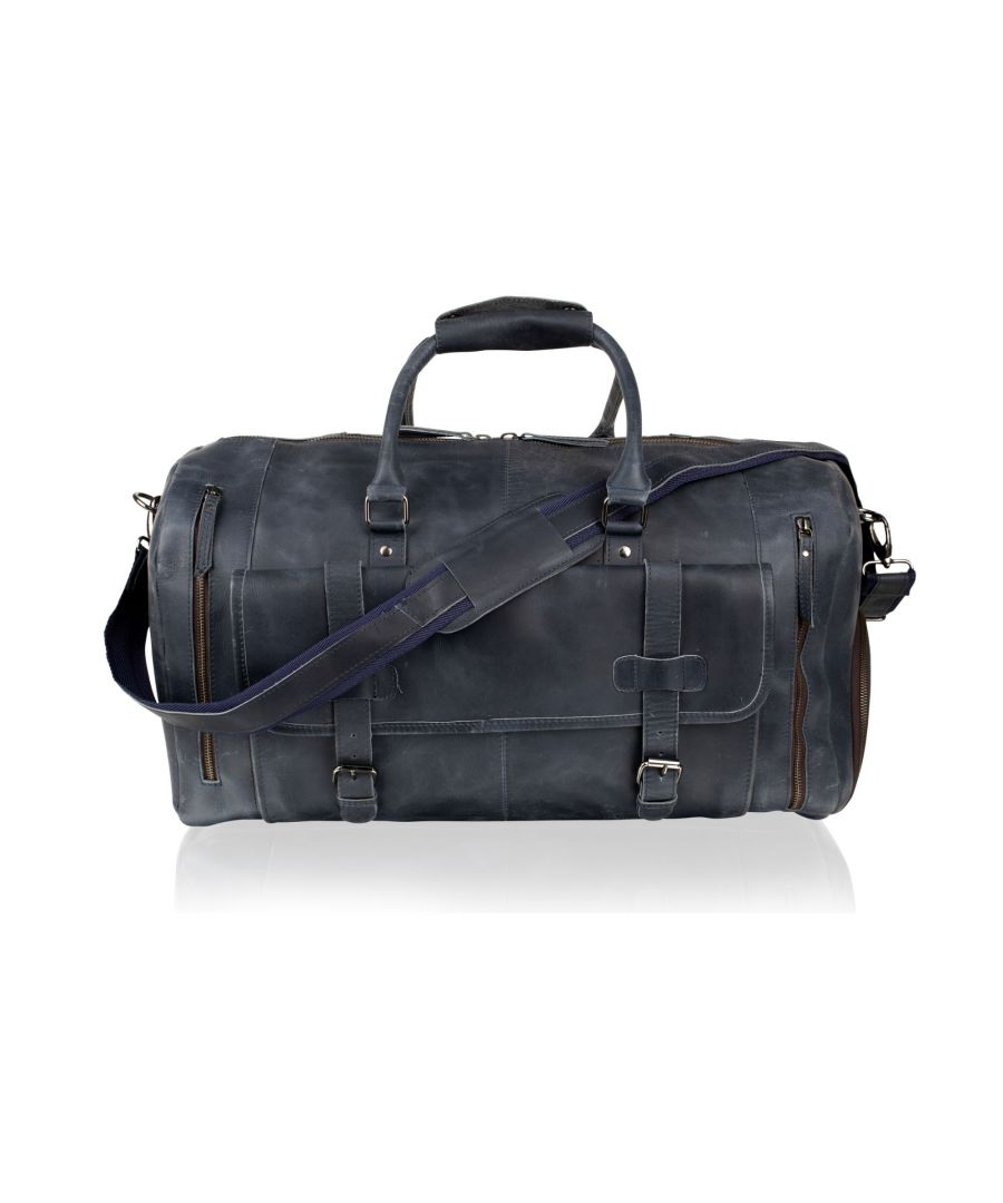 Image for Woodland Leather Sky Blue Holdall 20.0