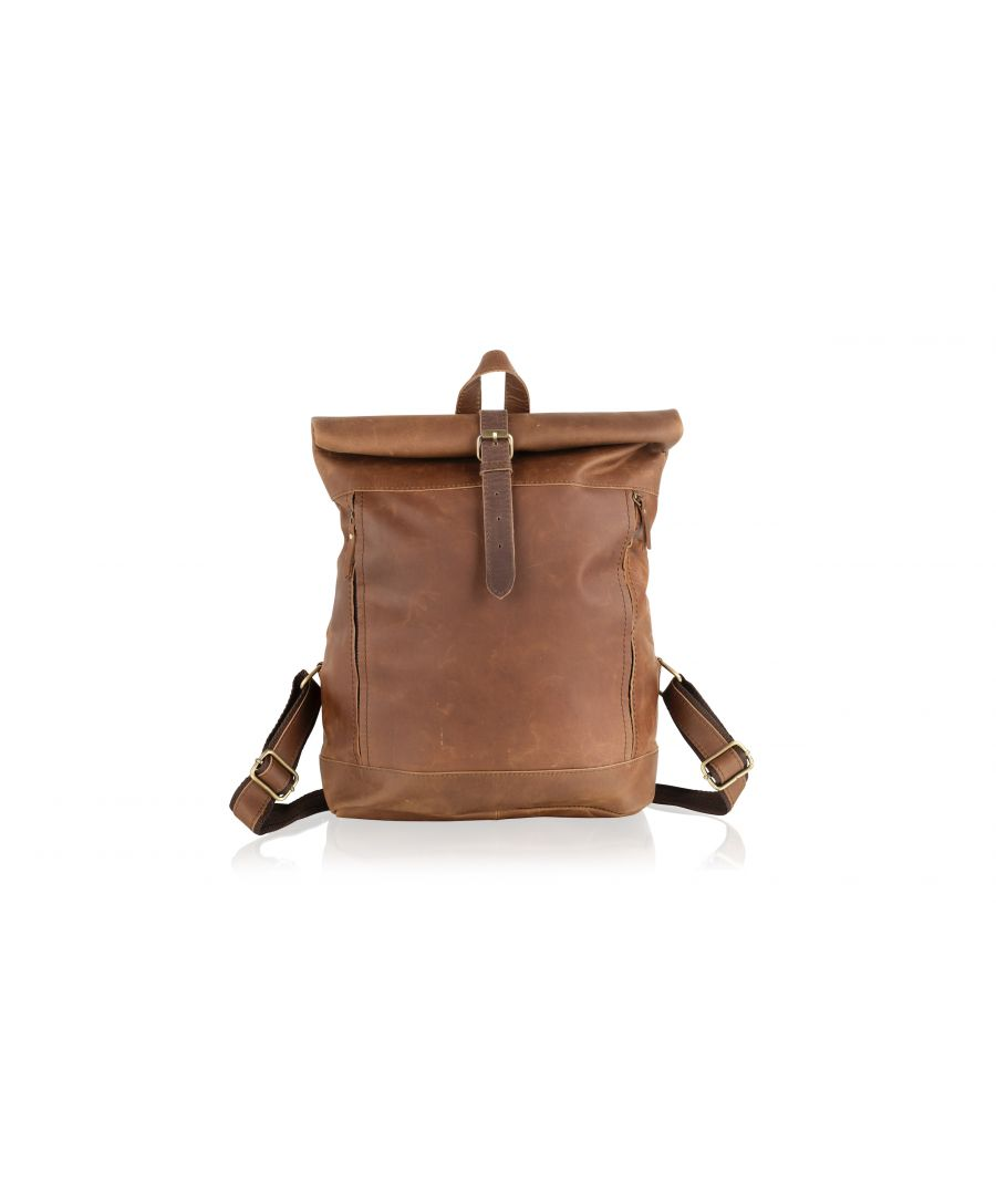 Image for Woodland Leather Tan Large Rolltop Leather Backpack