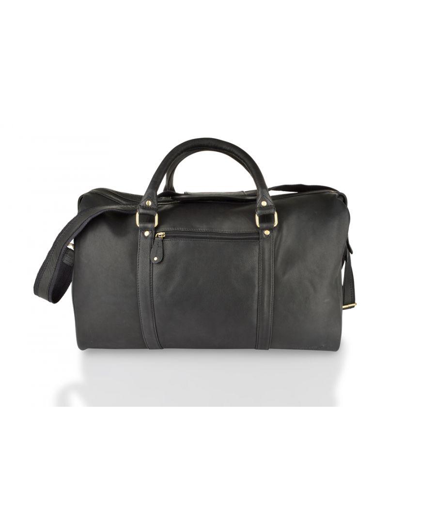 Image for Woodland Leather Black Medium Size Travel Holdall 20.0