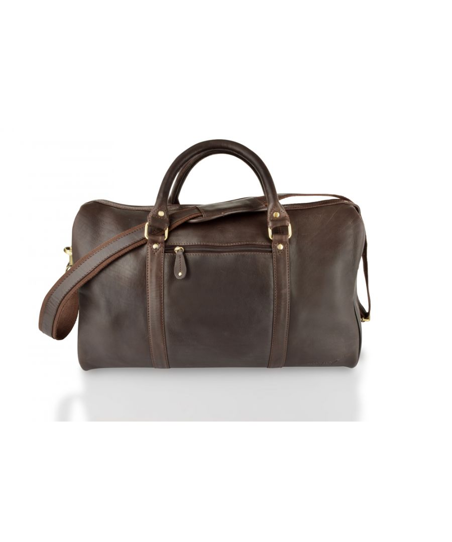 Image for Woodland Leather Brown Medium Size Travel Holdall 20.0