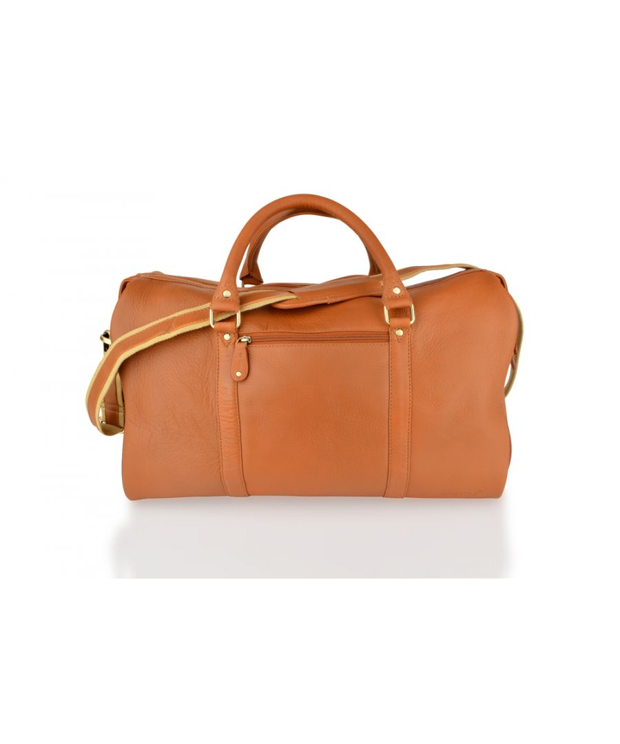 Image for Woodland Leather Tan Medium Size Travel Holdall 20.0