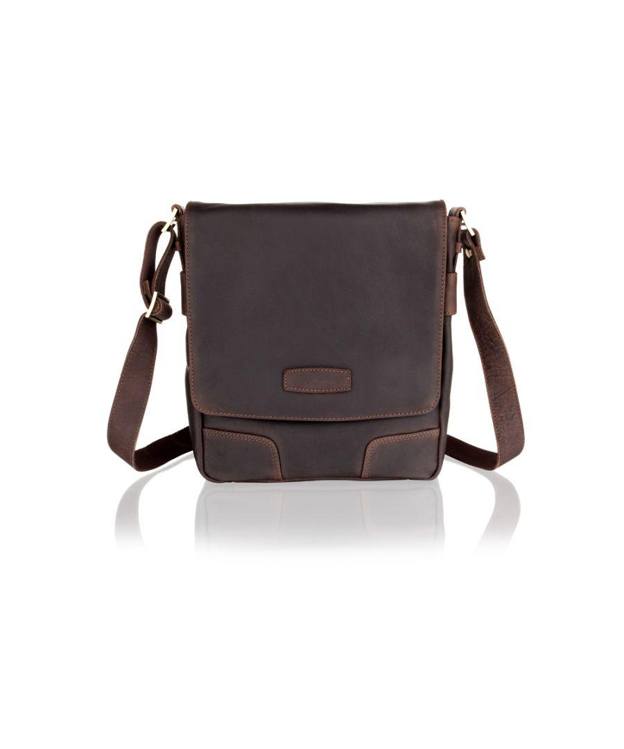 Image for Woodland Leather Portrait Flap Over Messenger Bag,12