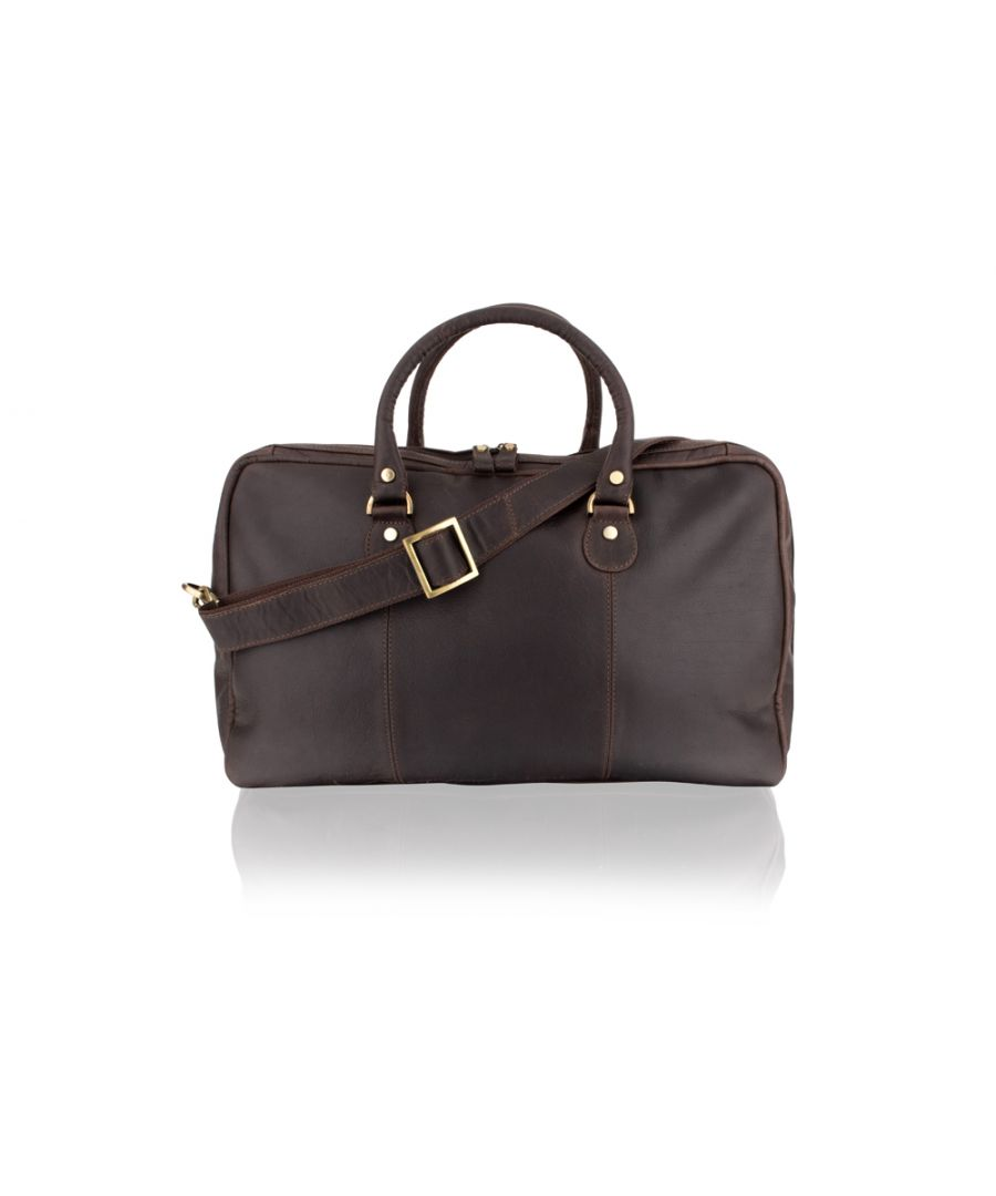 Image for Woodland Leather Brown Medium Travel Holdall 20.0