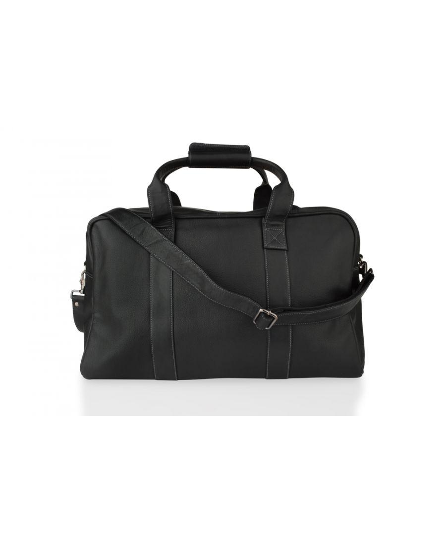 Image for Woodland Leather Black Medium Travel Holdall 20.0