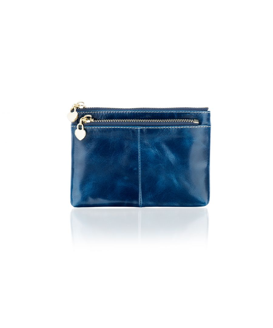 Image for Woodland Leather Blue Card Holder Coin Purse 4.0