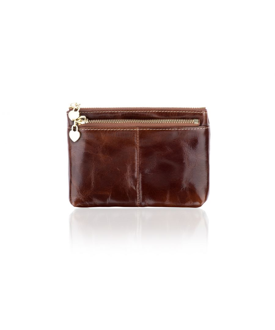 Image for Woodland Leather Brown Card Holder Coin Purse 4.0