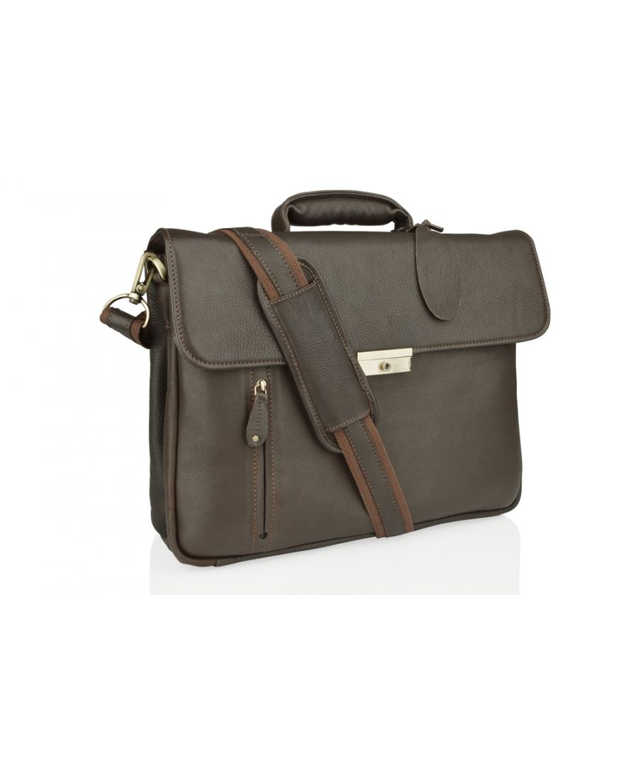 Image for Woodland Leather Large Brown Satchel Briefcase, Flap Over 15.0