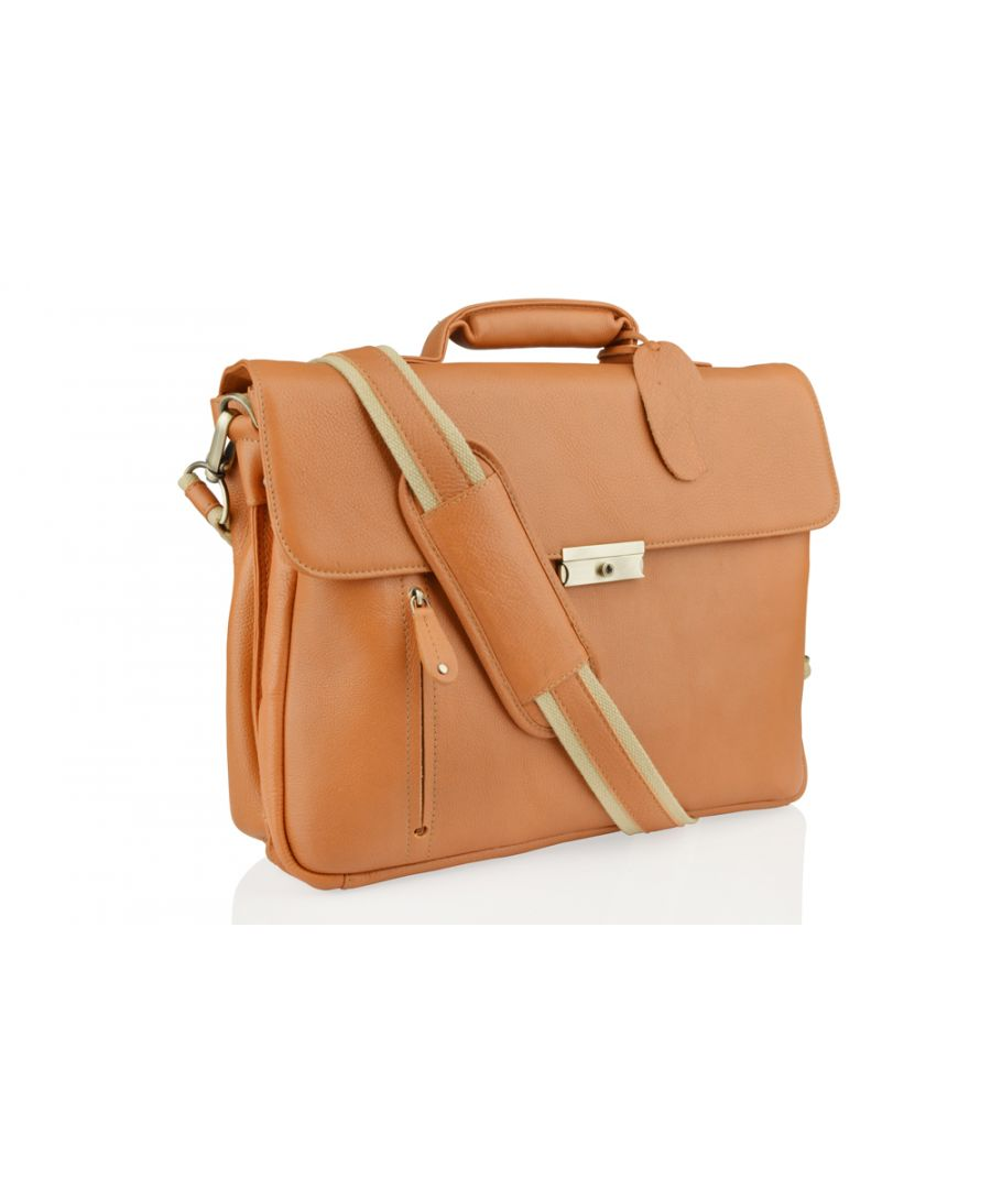 Image for Woodland Leather Large Tan Satchel Briefcase, Flap Over 15.0