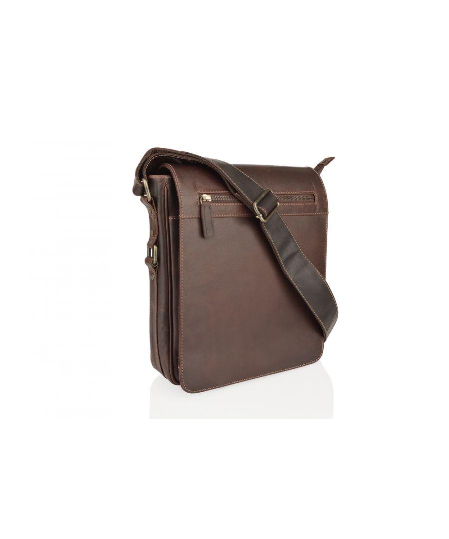 Image for Woodland Leather Burnish Landscape Flap Over Messenger Bag 14.0